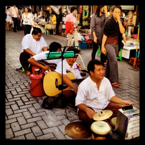 Street performers at Sunday Walking Street in Chiang Mai
